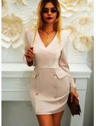 Solido Aderente Maniche lunghe Mini Casuale Elegante Vestiti di moda