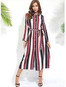 gestreift A-Linien-Kleid Lange Ärmel Maxi Elegant Hemdkleider Modekleider
