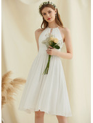 A-Line Knee-Length Chiffon Wedding Dress