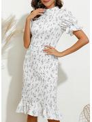 印刷 ボディコンドレス パフスリーブ 半袖 ミディ エレガント ペンシル ファッションドレス