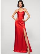 Sheath/Column Halter Floor-Length silk like satin Evening Dress With Split Front