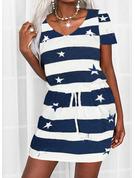 Trozos de color Impresión raya Cubierta Manga Corta Mini Casual Vestidos de moda