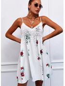Blommig Spets Print Shiftklänningar Ärmlös Mini Fritids Typ Modeklänningar
