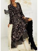 Leopard Spets A-linjeklänning Långa ärmar Midi Elegant skater Modeklänningar