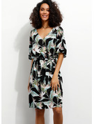 フローラル 印刷 Aラインワンピース 1/2袖 ミディ カジュアル 休暇 ラップ ファッションドレス
