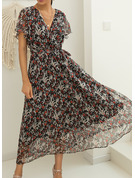 Floral Print A-line Short Sleeves Maxi Casual Vacation Skater Wrap Dresses