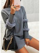 Solido In rilievo Abiti dritti Maniche lunghe Mini Piccolo nero Casuale Tunica Vestiti di moda
