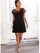 固体 シフトドレス 半袖 ミニ リトルブラックドレス カジュアル チュニック ファッションドレス