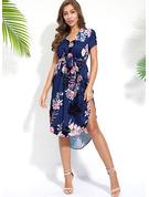 Floral Impresión Cubierta Manga Corta Asimétrico Boho Casual Vacaciones Vestidos de moda