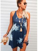 Blumen Druck Etui Ärmellos Mini Lässige Kleidung Sexy Urlaub Trägerhemd Modekleider