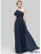 A-Linie/Princess-Linie Eine Schulter Bodenlang Chiffon Brautjungfernkleid mit Rüschen