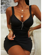 Solid Bodycon Sleeveless Mini Little Black Casual Sexy Tank Dresses