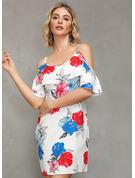 フローラル 印刷 シフトドレス コールドショルダースリーブ ミニ カジュアル ファッションドレス