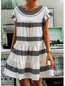 Print Shift Short Sleeves Mini Casual Tunic Dresses