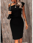 Solid Bodycon Short Sleeves Midi Little Black Party Pencil Dresses