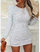 Sequins Solid Bodycon Lantern Sleeve Long Sleeves Mini Party Elegant Dresses