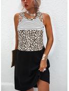 Leopard Color Block Skiftekjoler Ærmeløs Midi Casual Mode kjoler