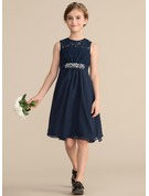A-Line/Princess Scoop Neck Knee-Length Chiffon Lace Junior Bridesmaid Dress With Beading Sequins Bow(s)