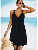Sólido Vestidos sueltos Sin mangas Midi Pequeños Negros Casual Vacaciones Vestidos de moda