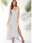 gestreift Etui Ärmellos Maxi Lässige Kleidung Urlaub Typ Modekleider