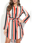 Striped A-line 3/4 Sleeves Midi Casual Shirt Dresses
