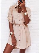 Solid Kjole med A-linje 3/4 ærmer Mini Casual Skjorte skater Mode kjoler