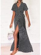 PolkaDot A-line Short Sleeves Maxi Vacation Skater Wrap Dresses