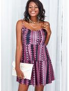 Nadruk Bez pleców Suknie shift Bez Rękawów Mini Nieformalny Rodzaj Modne Suknie