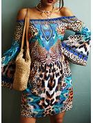 Leopard Print Shift Flare Sleeve Long Sleeves Mini Casual Vacation Tunic Dresses