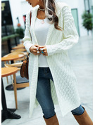Hooded Casual Long Solid Chunky knit Sweaters