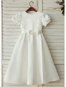 A-Line/Princess Ankle-length Flower Girl Dress - Satin/Lace Short Sleeves Scoop Neck
