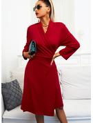 Solid Kjole med A-linje 3/4 ærmer Midi Den lille sorte Elegant skater Wrap Mode kjoler