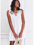 Renda Sólido Vestidos soltos Sem mangas Mini Casual Vestidos na Moda