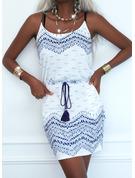 Nadruk Pokrowiec Bez Rękawów Mini Nieformalny Rodzaj Modne Suknie