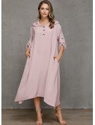 Sólido Vestidos sueltos Manga Larga Asimétrico Casual Vestidos de moda
