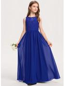 A-Linie U-Ausschnitt Bodenlang Chiffon Spitze Kleid für junge Brautjungfern