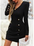 Jednolity Bodycon Długie rękawy Mini Mała czarna Elegancki Modne Suknie