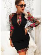 Blomster Print Bodycon Lange ærmer Mini Party Elegant Mode kjoler