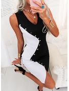 Color Block Bodycon Sleeveless Midi Party Dresses