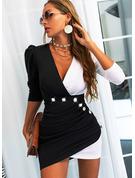 Color Block Bodycon Lange ærmer Puf-ærmer Mini Casual Mode kjoler