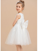 Princesový Po kolena Flower Girl Dress - Tyl/Krajka Bez rukávů Scoop Neck S Krajka/Luk