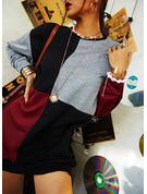Värikäs Shift mekot Pitkät hihat Mini Rento Paidat Muodikkaat mekot