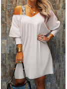 Sequins Solid Shift Long Sleeves Mini Casual Tunic Dresses