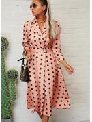 Polkaprik Kjole med A-linje 3/4 ærmer Midi Elegant skater Mode kjoler