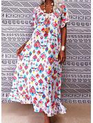 フローラル 印刷 ハート シフトドレス 半袖 マキシ カジュアル 休暇 ファッションドレス