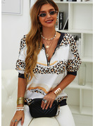 Druck Leopard V-Ausschnitt Lange Ärmel Pullover