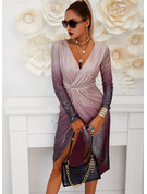 Paillettes A trapezio Maniche lunghe Midi Partito Elegante Vestiti di moda