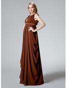 Império Decote V Longos Tecido de seda Vestido para madrinha grávida com Pregueado
