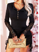 Lace Solid Bodycon Long Sleeves Mini Little Black Casual Dresses
