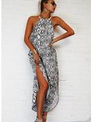 印刷 シフトドレス ノースリーブ マキシ カジュアル 休暇 ファッションドレス